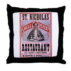 St. Nicholas Restaurant Throw Pillow