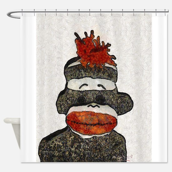 Sad Sock Monkey Shower Curtain