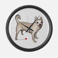 Cute Heart Chihuahua Large Wall Clock