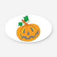 Halloween Carved Pumpkin Oval Car Magnet