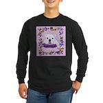 Bulldog puppy with flowers Long Sleeve Dark T-Shir