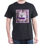 Bulldog puppy with flowers Dark T-Shirt