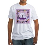 Bulldog puppy with flowers Fitted T-Shirt