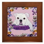 Bulldog puppy with flowers Framed Tile