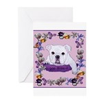 Bulldog puppy with flowers Greeting Cards (Package