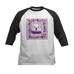 Bulldog puppy with flowers Kids Baseball Jersey