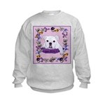 Bulldog puppy with flowers Kids Sweatshirt