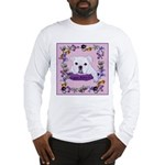 Bulldog puppy with flowers Long Sleeve T-Shirt