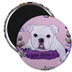 Bulldog puppy with flowers Magnet