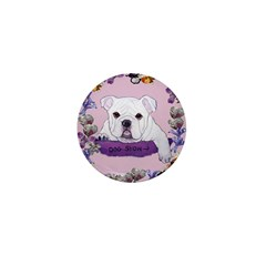 Bulldog puppy with flowers Mini Button