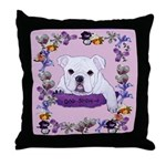 Bulldog puppy with flowers Throw Pillow