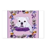 Bulldog puppy with flowers Postcards (Package of 8