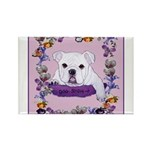 Bulldog puppy with flowers Rectangle Magnet (10 pa