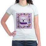 Bulldog puppy with flowers Jr. Ringer T-Shirt
