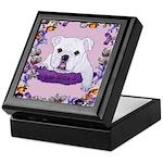 Bulldog puppy with flowers Keepsake Box