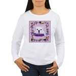 Bulldog puppy with flowers Women's Long Sleeve T-S