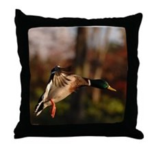 Mallard Duck In Flight  Throw Pillow