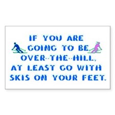 Over the Hill on Skis Rectangle Decal