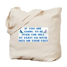 Over the Hill on Skis Tote Bag