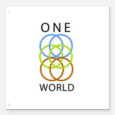 """One World Square Car Magnet 3"""" x 3"""""""