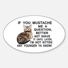 Ask The Kitten With A Mustache A Question Decal