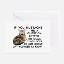 Ask The Kitten With A Mustache A Question Greeting