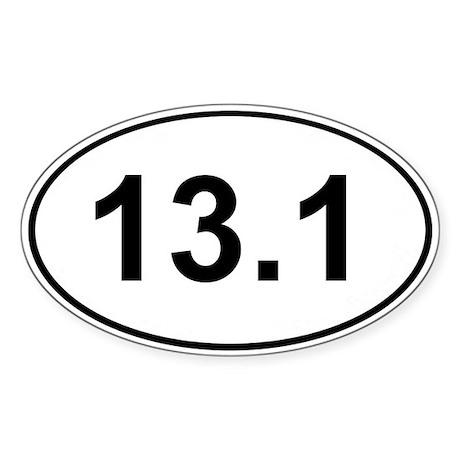 Half Marathon 13.1 White Oval Sticker