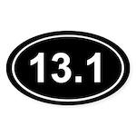Half Marathon 13.1 Black Oval Sticker