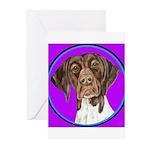 German Shorthair Pointer Head Greeting Cards (Pack