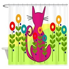 Whimsical Cat Art Shower Curtain