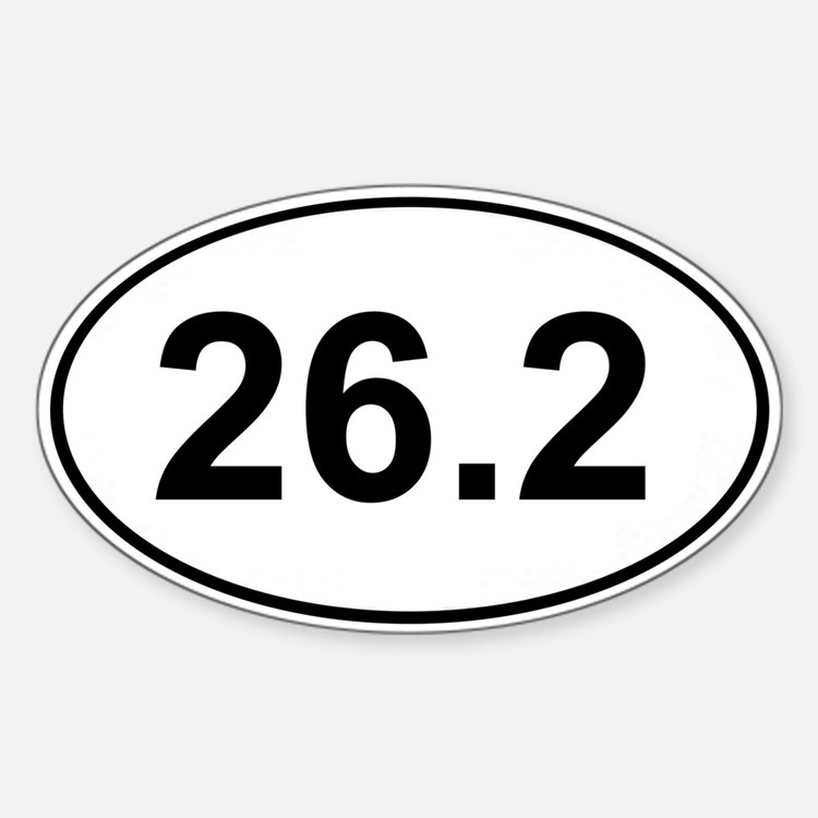 Marathon 26.2 White Oval Decal