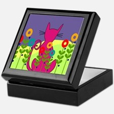 Whimsical Cat Art Keepsake Box