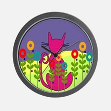 Whimsical Cat Art Wall Clock