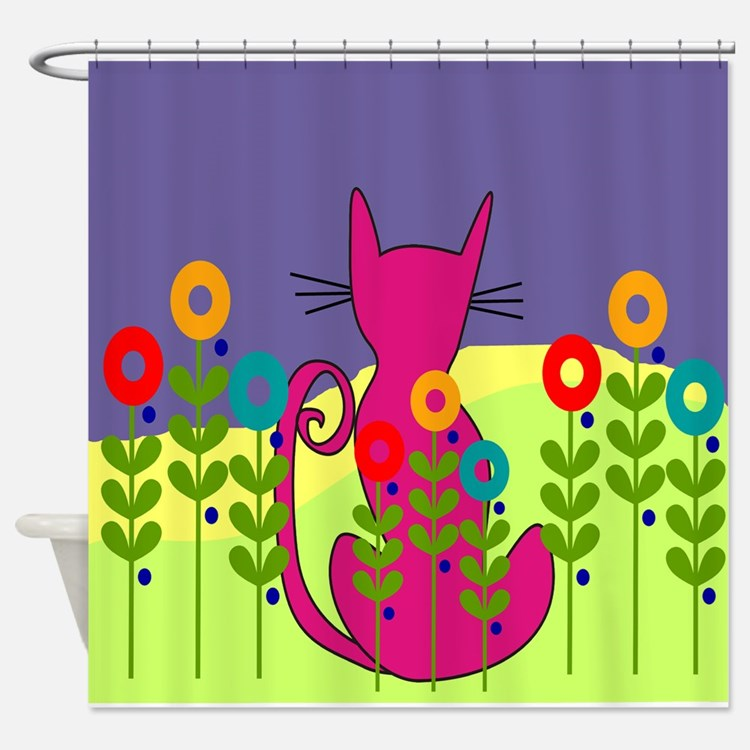 Whimsical Cat Shower Curtains Whimsical Cat Fabric Shower Curtain Liner