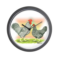 Barred Holland Chickens Wall Clock