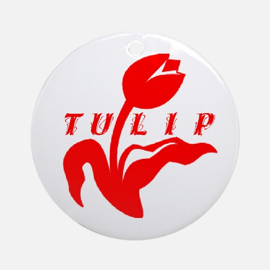 Red Tulip Ornament (Round)