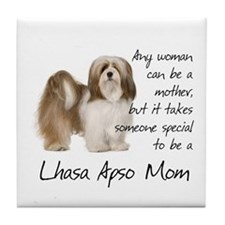 Lhasa Apso Mom Tile Coaster