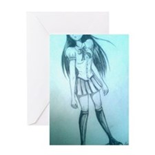 manga girl Greeting Card