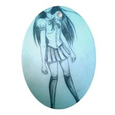 manga girl Oval Ornament