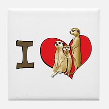 I heart meerkats Tile Coaster