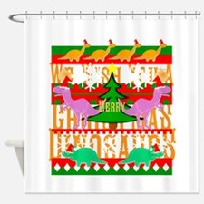 Ugly Christmas Sweater Dinosaurs Shower Curtain