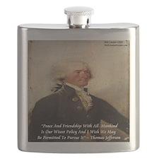 Thomas Jefferson Peace Quote Flask