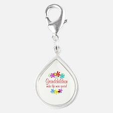 Special Grandchildren Silver Teardrop Charm