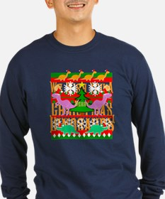 Ugly Christmas Sweater Dinosaurs Long Sleeve T-Shi
