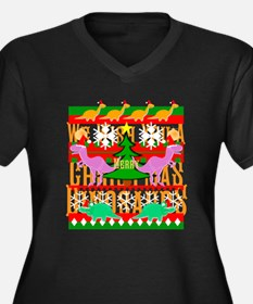 Ugly Christmas Sweater Dinosaurs Plus Size T-Shirt