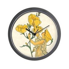 Evening Primrose by Walter Crane Wall Clock