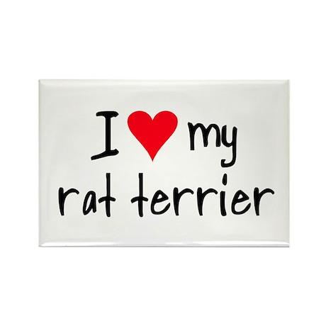 I LOVE MY Rat Terrier Rectangle Magnet