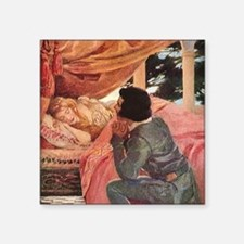 "Vintage Sleeping Beauty Square Sticker 3"" x 3"""