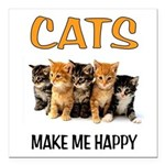 HAPPY CATS Square Car Magnet 3