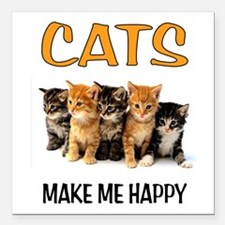 "HAPPY CATS Square Car Magnet 3"" x 3"""